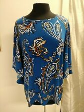 Chicos Blouse Top Blue Paisley 3/4 Flare Sleeve Sz 1 Medium Sz 8 NWT $65