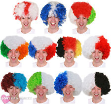 PACK OF SUPPORTERS AFRO WIG EURO FOOTBALL RUGBY SPORTS EVENT FANCY DRESS LOT
