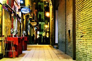 """Urban Back Alley Cafe Digital Art Print 11"""" x 17"""""""