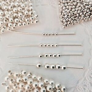 Sterling Silver .925 Seamless Round Beads - Choose Sz. 2mm - 4mm  - 50 PC. PACK