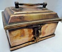 Antique Jewellery Box Brass Indian Art Trinket Box Hand Made Collectibles Rare#F