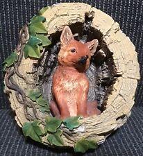 Bossons Chalkware Wall Hanging Fox In Log Figurine