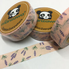WASHI TAPE LAVENDER SPRIGS ON PINK 15MM WIDE X 10MTR ROLL PLAN WRAP CRAFT SCRAP