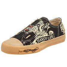 designer Ed Hardy Women Lowrise Organic Sneakers Gym Shoes sz 6 Black Tan Fayed