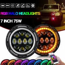 "Pair 7"" Round LED Headlights Halo 75W RGB Colors For Jeep Wrangler JK LJ TJ CJ"