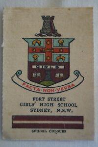 Vintage 1910's Wills Silk School Crests Fort Street Girls High School Sydney NSW