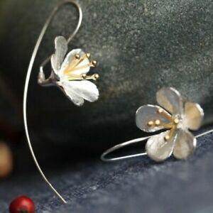 Lovely 925 Sterling Silver Long Flower Earrings Tassel Earrings Silver Jewellery