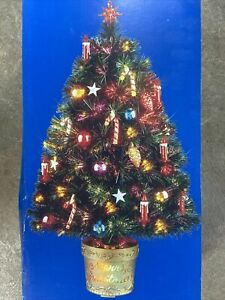 """Christmas Tree 32"""" Decorated Fiber Optic Artificial Color Changing Lighted Base"""