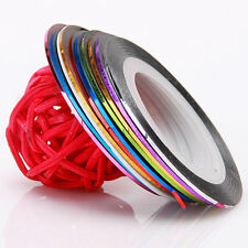 Mix Color Striping Tape Line Nail Art DIY Decoration Sticker Salon Tool -10Rolls