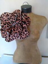 Mothers Day Leopard Felt Oversized Rosette Magnet Pin Brooch
