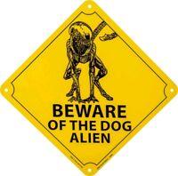 Other Gift & Novelty--Alien - Beware of the Dog Alien Tin Sign