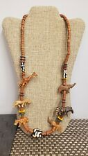 African Necklace ~Trade Beads and Hand Carved Wood Animals~Exotic and Beautiful