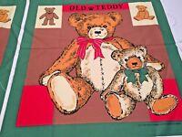 "Vtg Teddy Bear Fabric Panel Sun Million Design 99 17.25"" X 17.5"""