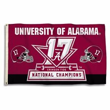 Alabama Crimson Tide 3' x 5' Flag 2017 National Champions Championship Ncaa