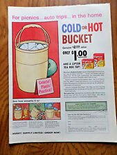 1958 Lipton Tea Bags Offer Ad  Cold Or Hot Bucket for Picnics Auto Trips Home