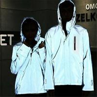 Reflective Jacket Men/women Harajuku Windbreaker Jacket Hooded Streetwear Coat U