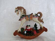 """Wind up Animated Christmas Decorated Rocking Horse Music Box """"Toyland"""""""