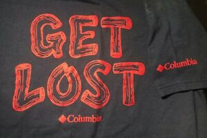 Boy's Columbia S/S T-Shirt Size Small (S) NAVY/RED--GET LOST