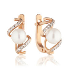 NEW Russian jewelry gold 585 14K earring woman natural pearl 2.83g Free shipping