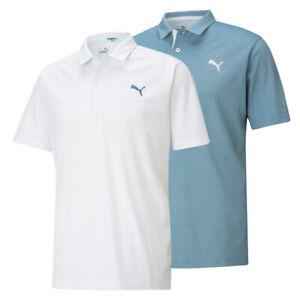 Puma Tech Pique Palmetto Polyester Golf Polo Cat Logo Left Chest Pick Shirt