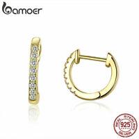 bamoer Frauen Gold Stud Kreis Ohrringe 925 Sterling Silber Modeschmuck