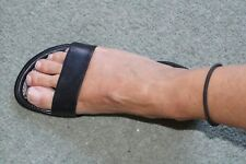 Ladies Womens Black Leather Flat Sandals elastic ankle strap 5 38 VGC