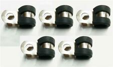 5x Marine Grade Stainless Steel Rubber-Lined P-Clip 8mm Hose Pipe Clamp M6 Hole
