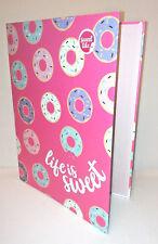 Life is Sweet DONUTS A4 RING BINDER FOLDER FILE School Home HOT PINK Sprinkles