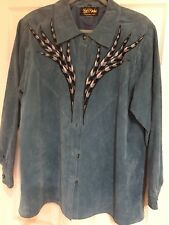 👋 L👀K: TurquoiseSuede BOBMACKIEWEARABLEART Silver/Blk Embroidered Shirt 1X