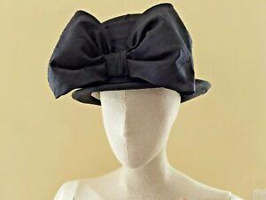 Jean Biggs Black Silk Bowler Derby Hat Wedding Vintage