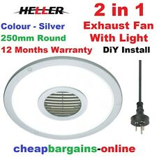 HELLER EXHAUST FAN WITH LIGHT 250mm ROUND SILVER BATHROOM LAUNDRY TOILET FAN KIT