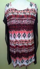 Ladies Womens Kaftan Blouse Shirt Top S/Sleeve Casual Print Crossroads Size 14