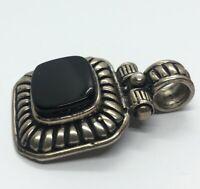 Vintage Sterling Silver Necklace 925 Pendant Onyx