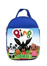 PERSONALISED Insulated Bing Rabbit Lunch Snack Bag Blue School Kids 24 x19x10 cm
