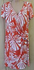 CORAL & WHITE FAN TWIST FAUX WRAP STYLE Ronni Nicole O-So-Slim Dress uk Size 10