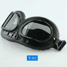 Retro Leather Vintage Goggles Aviator Pilot Glasses Helmet Sport Eyewears Black