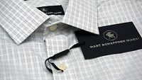 NWT $89 Hart Schaffner Marx White Plaid Shirt Men M L XL NEW Short Sleeve Button