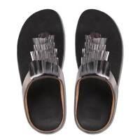 Fitflop Cha Cha Metallic Women Synthetic Black Toe Thong Sandals Size UK 3 - 8