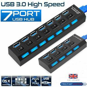 USB 3.0 Hub High Speed 4/7 Port Power Splitter Extender AC Adapter For PC Laptop