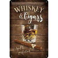 Whiskey Zigarren Nostalgie Blechschild 30 cm NEU  Tin sign shield