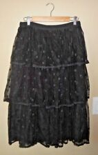 NWT J Crew Tiered Skirt in Polka-Dot Embroidered Tulle 10 Black Midi Party