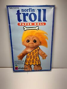 "Vintage 1992 10"" Nor fin TROLL PAPER DOLL Dress Up By Colorforms. Sealed"