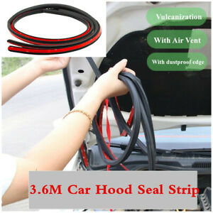 1Pcs 3.6M Rubber Hood Seal Strip Car Bumper Edge Protector w/Air Vent Waterproof