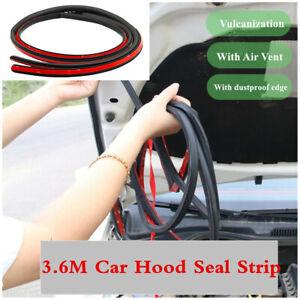 1Pcs 3.6M Rubber Hood Seal Strip Car Bumper Edge Protector w/Air Vent Waterproof
