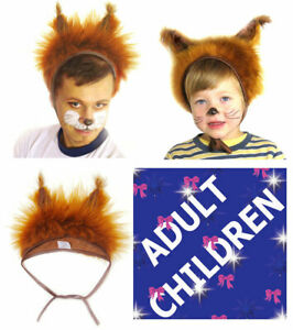 Animal Red Squirrel Fancy Dress Hat Unisex Adults Kids Children Carnival Party