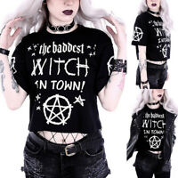 Women's Fashion Gothic Style Punk Girl Casual Short Sleeve Blouse Top T-shirt