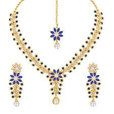 BLUE Gold Plated Stunning Indian Fashion Diamond Ethnic Party Wear Jewelry Set