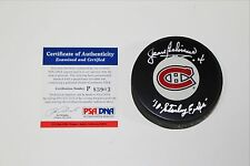 JEAN BELIVEAU SIGNED MONTREAL CANADIENS LOGO PUCK PSA/DNA AUTH COA 10 CUPS INSC