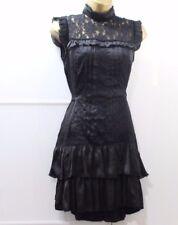 Lipsy Gothique Victorien Col Haut Dentelle Robe Taille 10 Noir Soyeux Goth Party Vintage