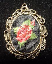 Vintage Gold Toned Rose Needlepoint & Mirror Necklace Pendant